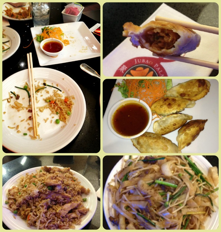 (Clockwise) Inside of the fried dumpling, fried dumplings, beef chow fun, chicken fried rice, a full stomach!