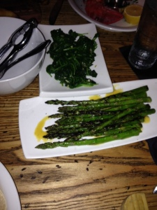 Grilled Asparagus & Garlicky Spinach