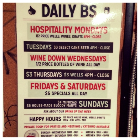 Daily Specials at The Bricks Ybor