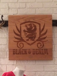 Black and Denim Sign
