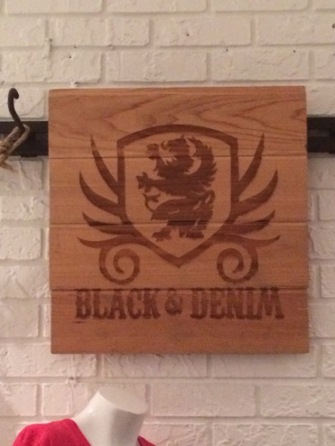 Black and Denim Sign